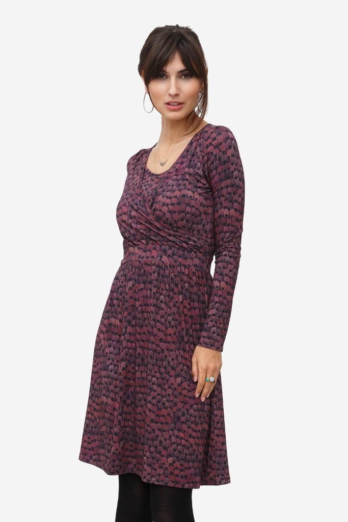Nursing dress with purple flower pattern and warp around look