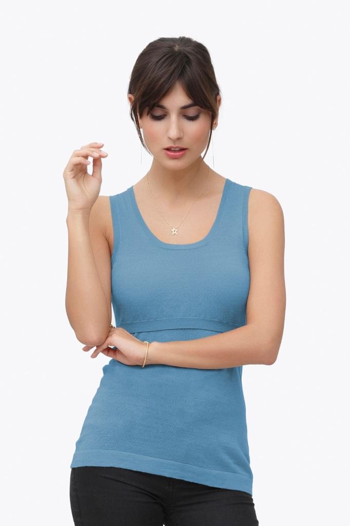 Blue nursing top - 100% wool