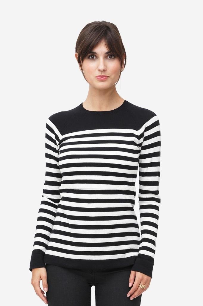 Black/White striped nursing shirt made of organic cotton knit