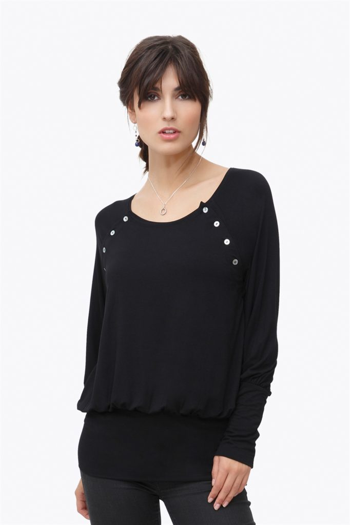 Black nursing shirt - loose short version of bamboo fibers
