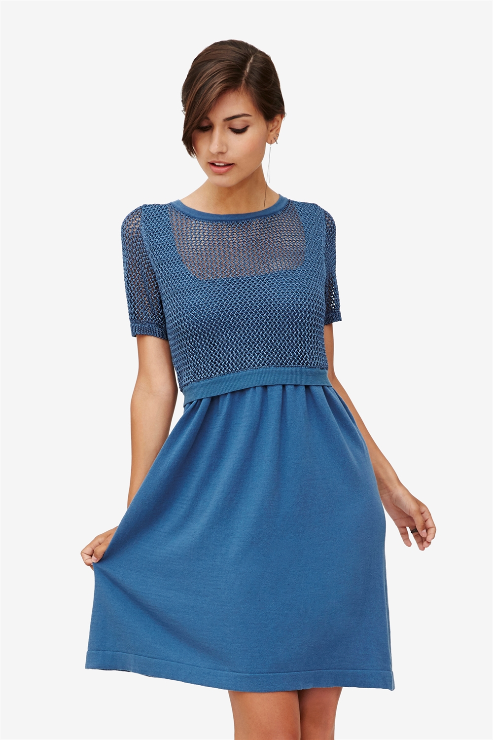 Blue nursing dress with knit top