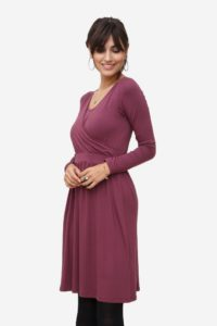 Plum nursing dress with wrap look