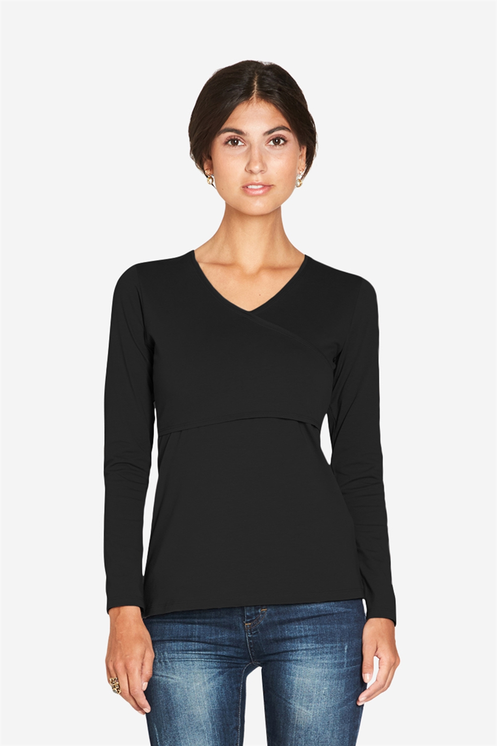 Black long sleeved nursing shirt with wrap look