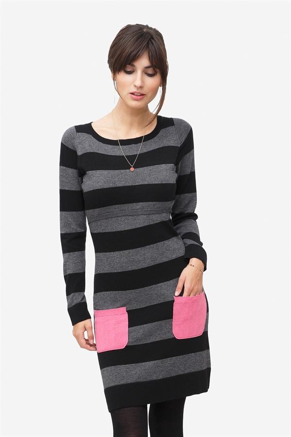 Grey striped nursing dress with pink pockets