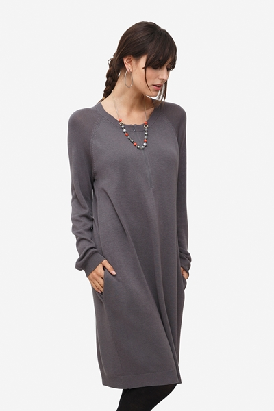 Grey nursing dress with zipper nursing opening