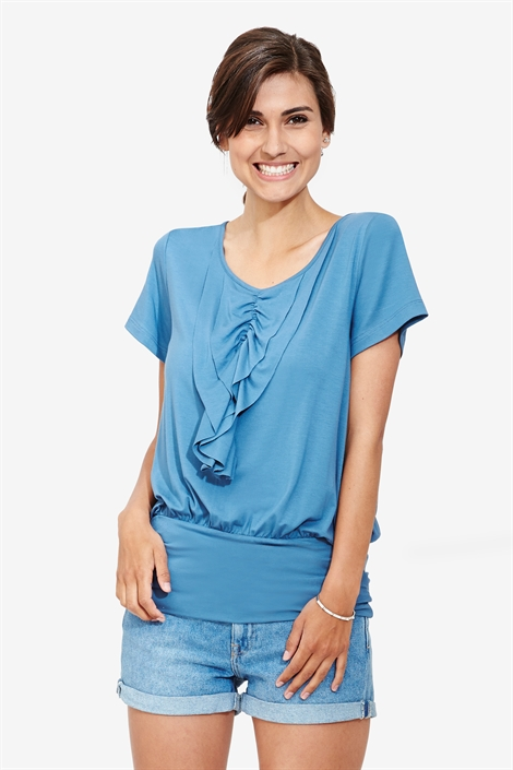 Blue nursing blouse with frills and short sleeves