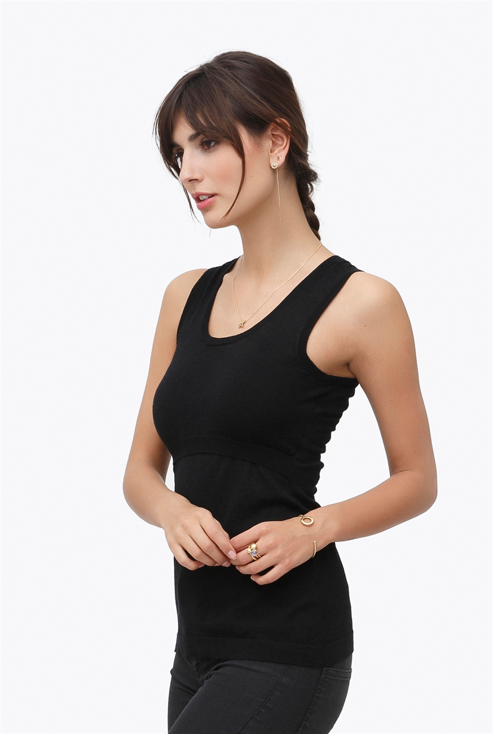 Black nursing top - 100% wool