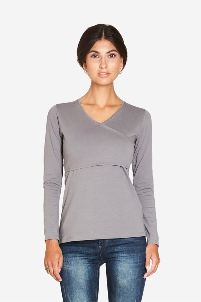 Grey nursing shirt with a classic wrap look