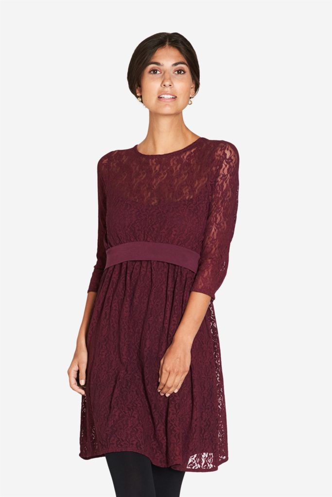 Bordeaux Red nursing Dress with Laces