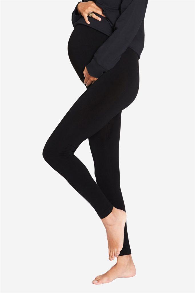 Black maternity leggings for pregnant women