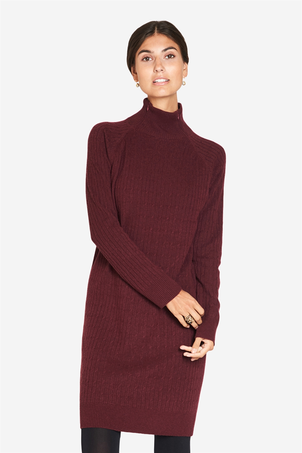 Bordeaux Dress with a high neck for breastfeeding