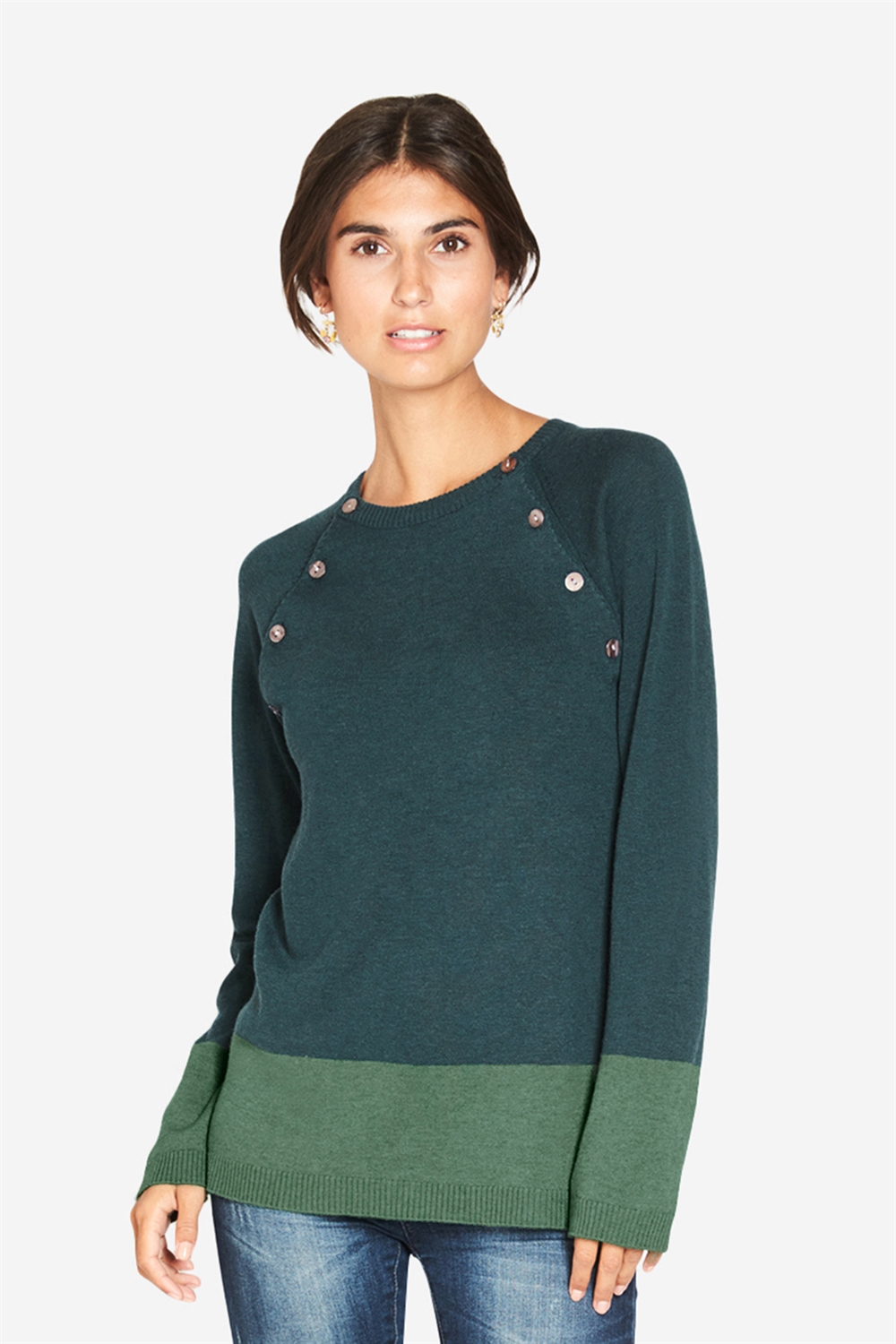 2 colour nursing pullover in green wool