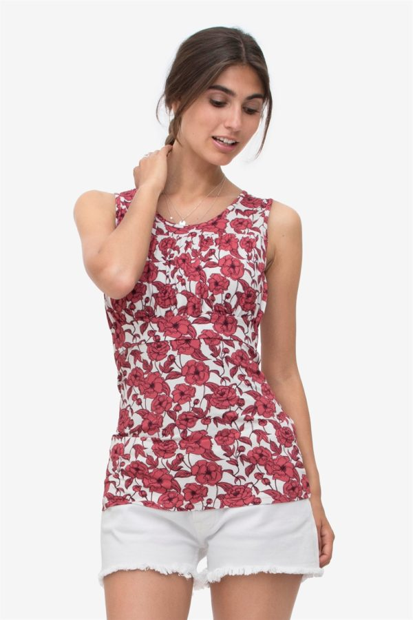 Nursing top with coral flower print in bamboo jersey