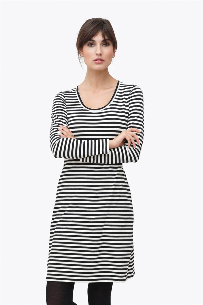 Black and white striped nursing dress in organic cotton