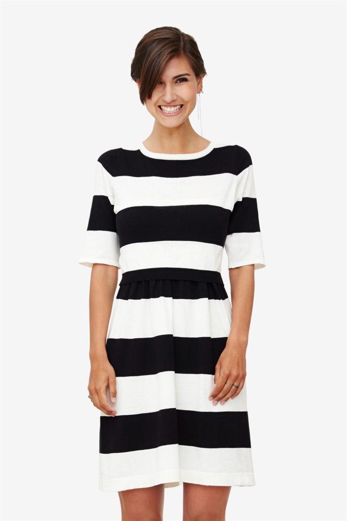 Cream/black striped nursing dress in 100% organic cotton