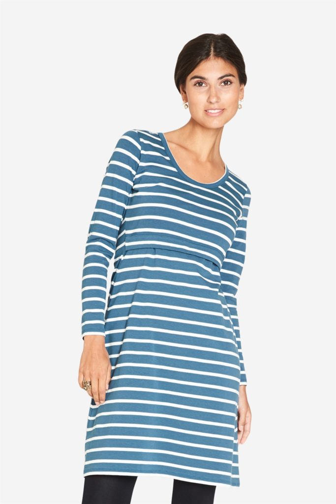 Blue/green striped long sleeved nursing dress with round neck