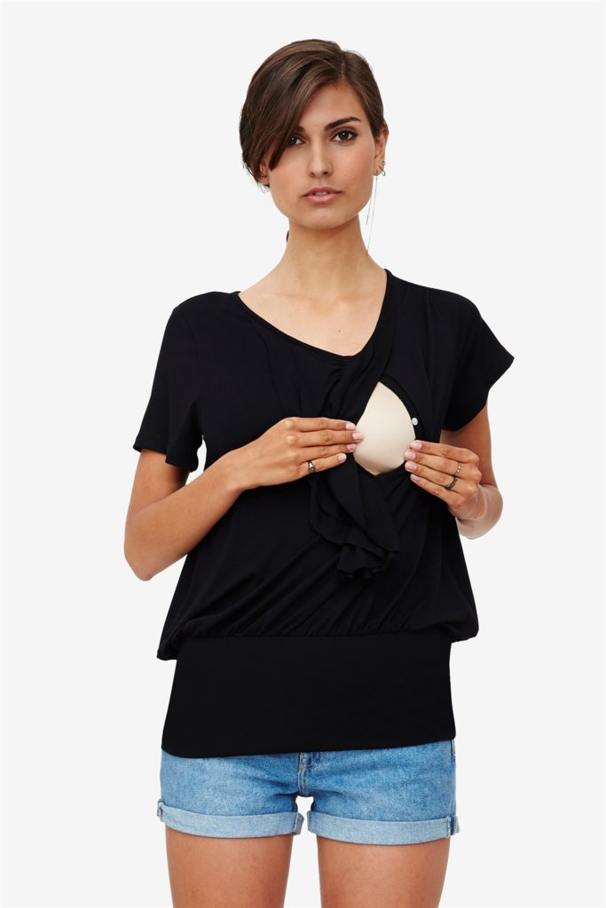 Black nursing blouse with frills and a wide rib