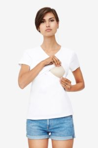 White nursing top with V-neck and wrap-around look