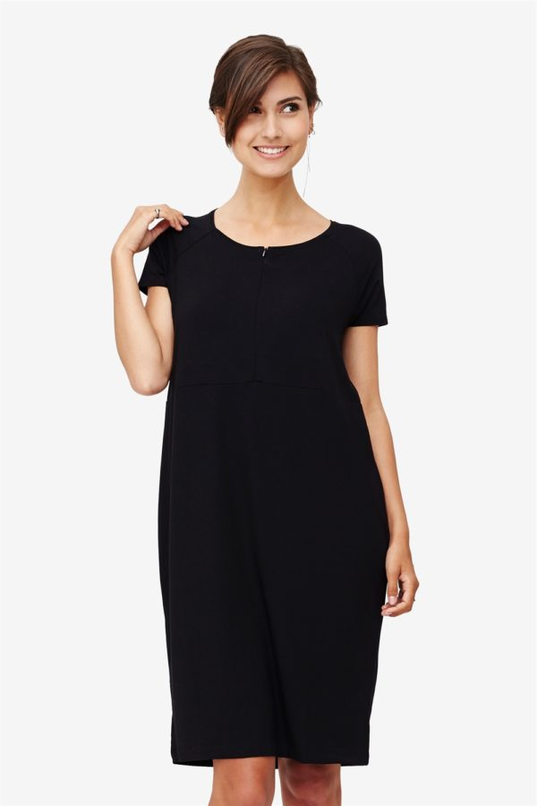 Black nursing dress with zipper